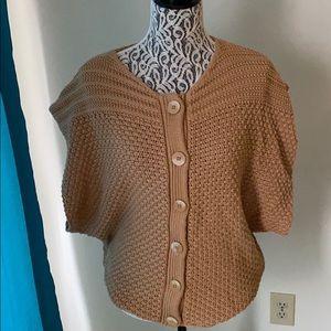 PrAna tan oversized knit button up sweater